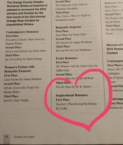 Denise M. Colby's name in print for winning award