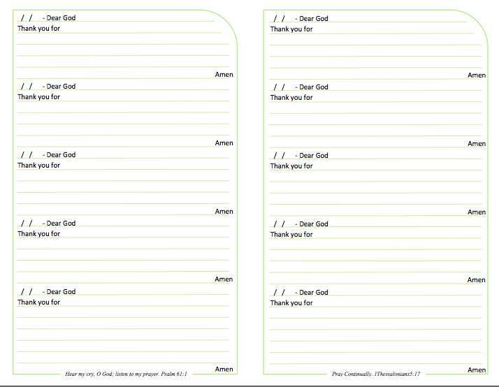 prayer journal lined page with prompts to print and use free