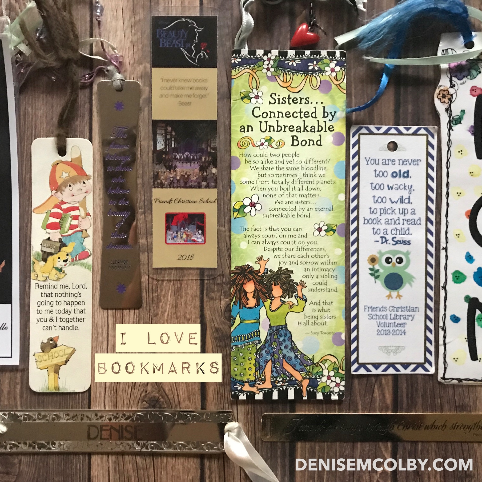 Photograph of bookmarks by Denise M. Colby used in social media post