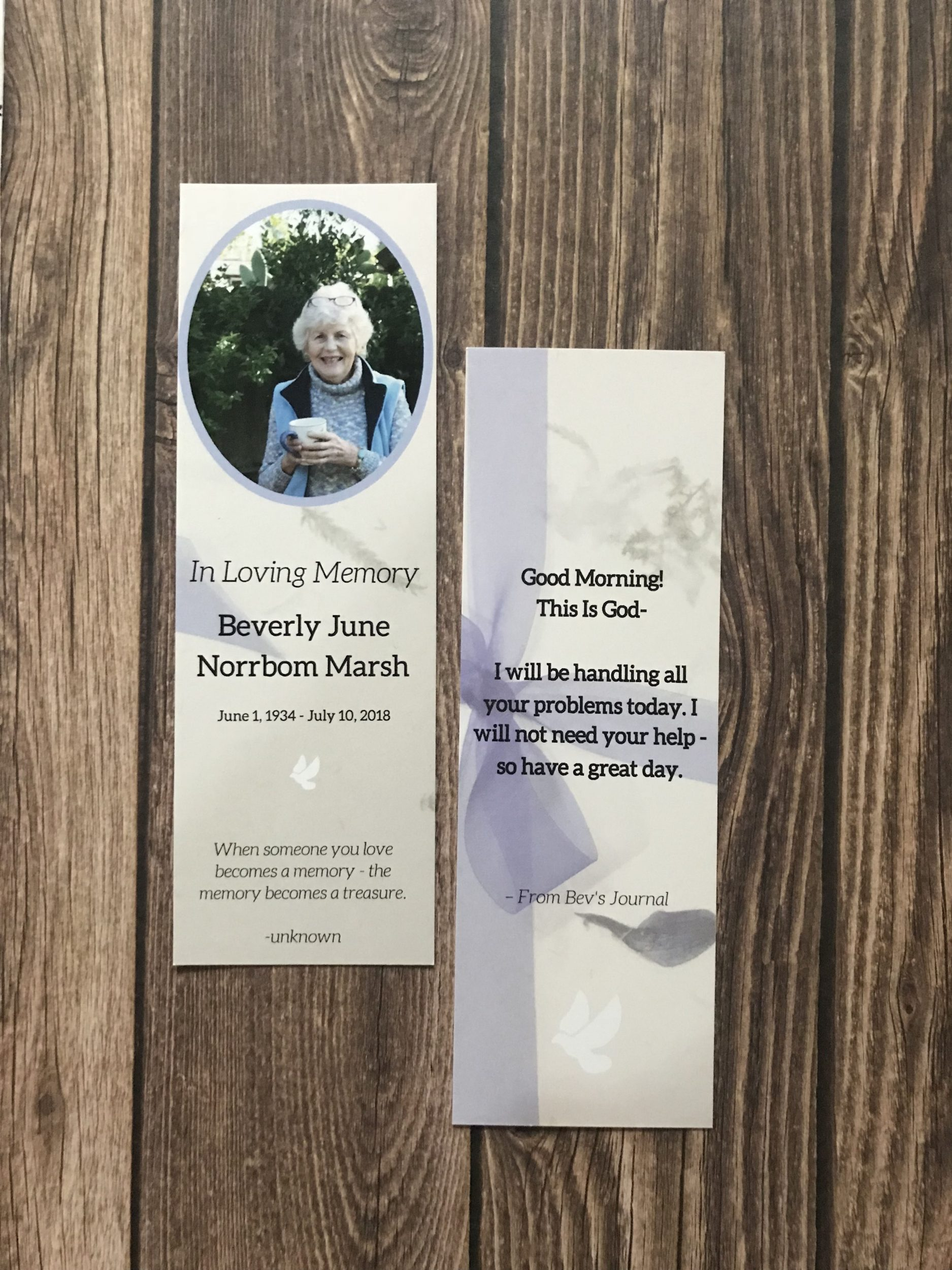 Photo of Bookmark created by Denise M. Colby (front and back) Beverly Marsh Memorial Service
