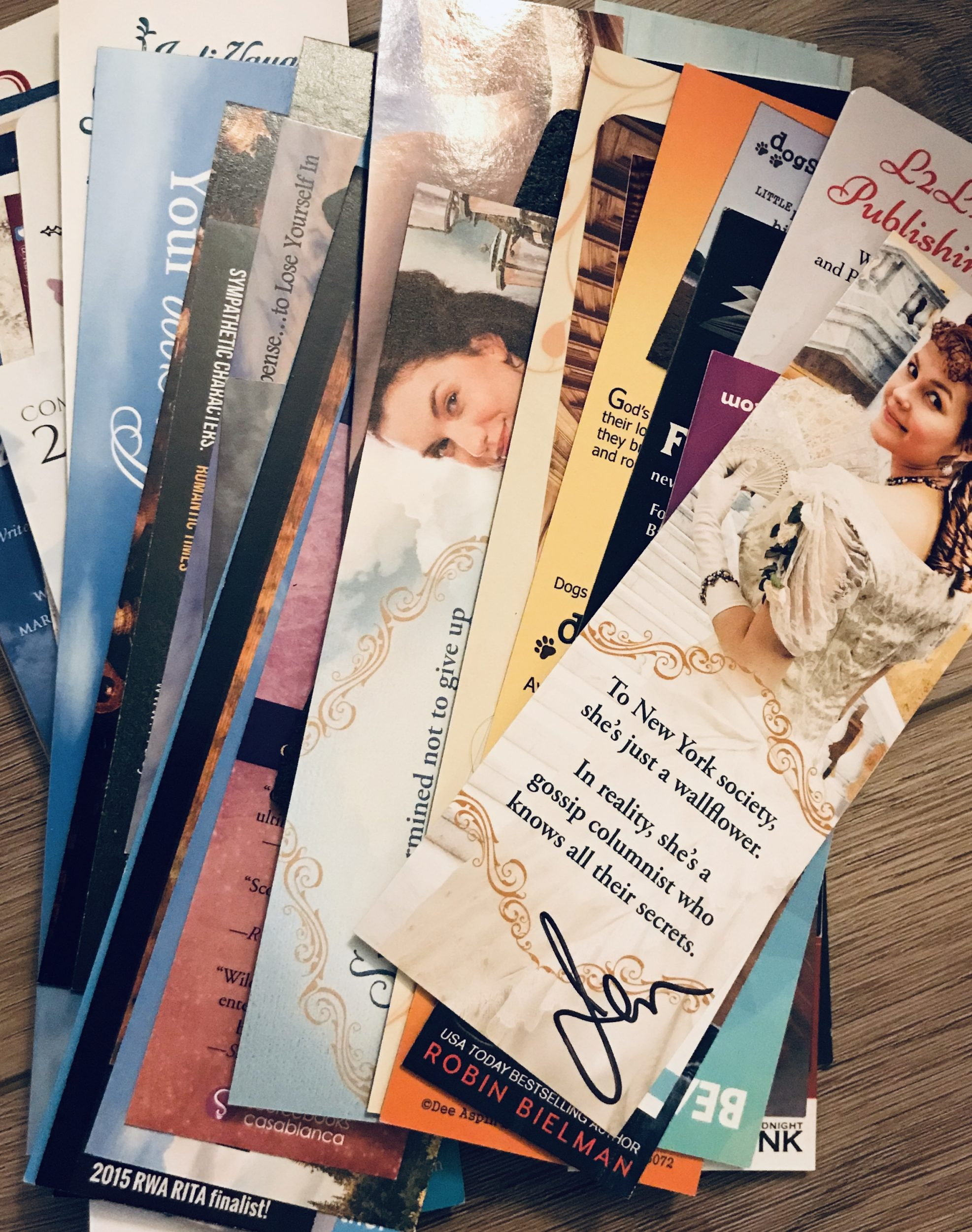 stack of bookmarks by authors I've met