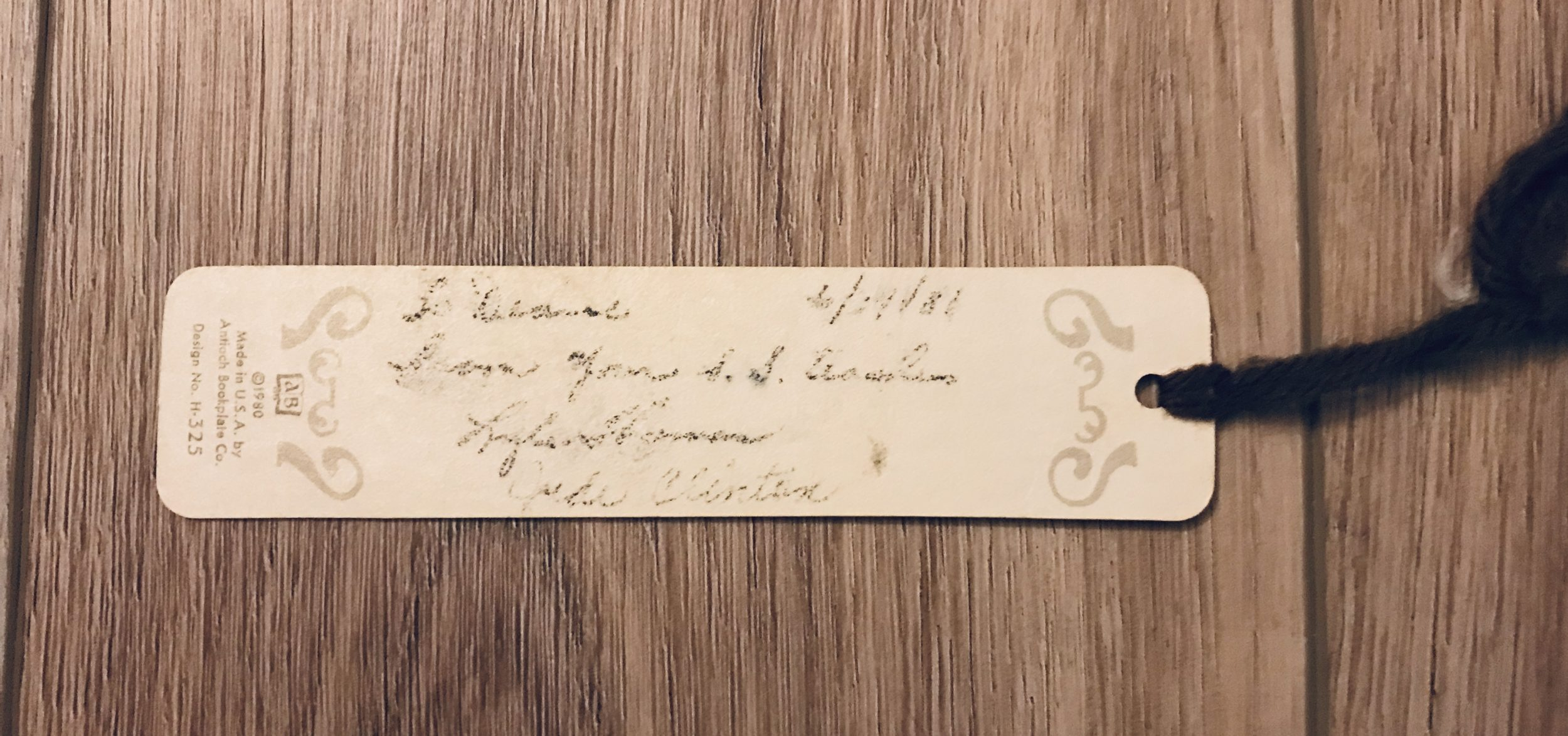 back of bookmark showing a personalized message from 1981