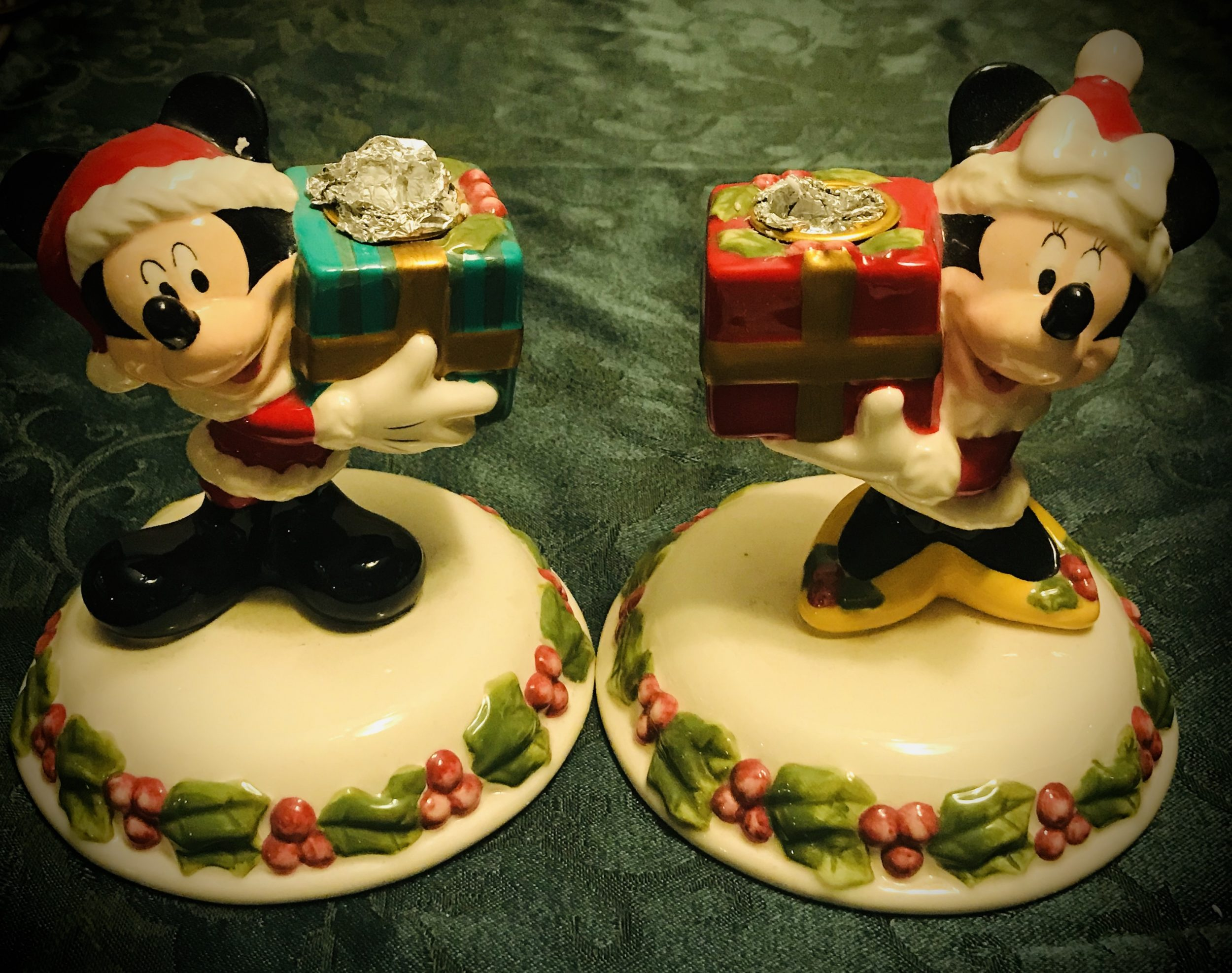Mickey & Minnie holding presents candlesticks