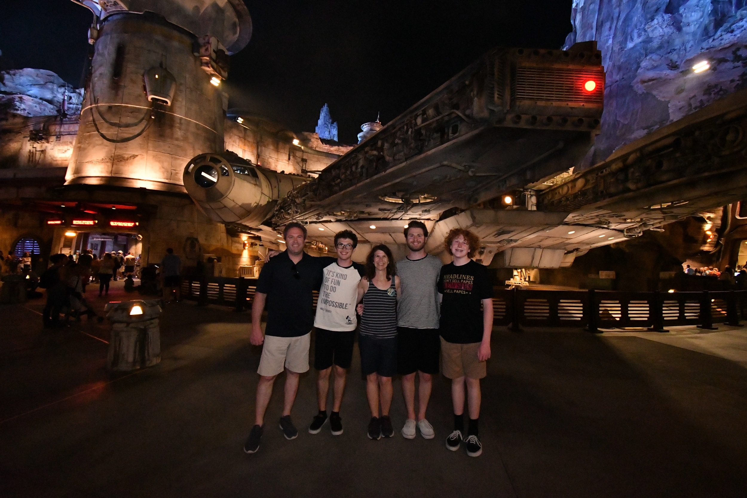 Denise M. Colby with her family in front of Millennium Falcon at Disneyland's Galaxy Edge August 2019