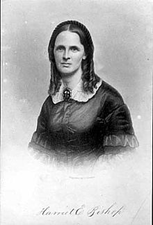 Old black and white photo of Harriet Bishop one of the first public school teachers in 1847