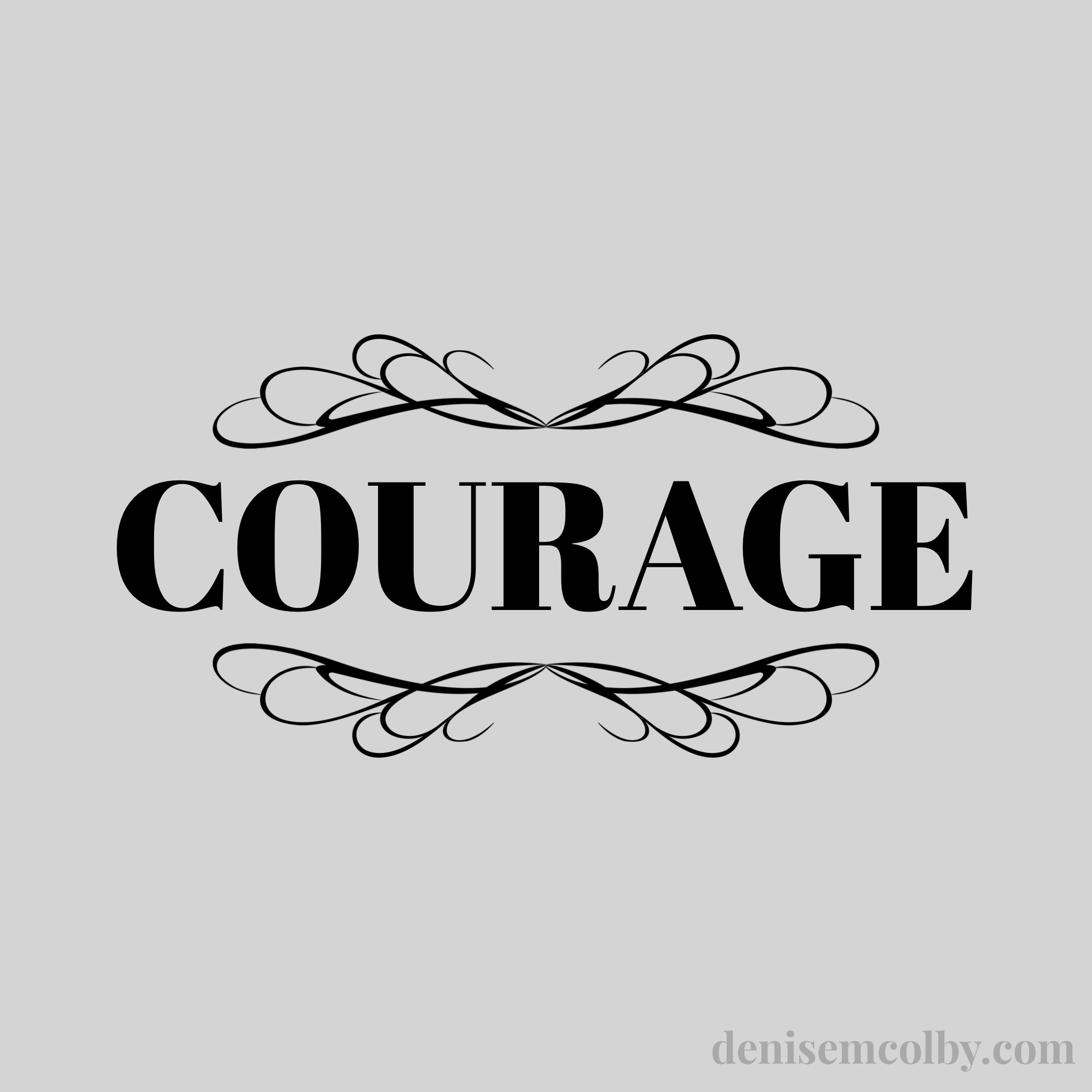 title with the word courage on it