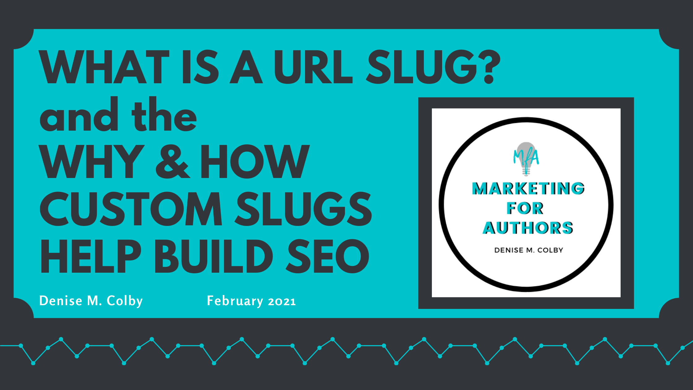 Blog banner graphic highlighting blog post about creating custom URL slugs for your blog with Marketing for Authors logo on it, teal and black colors