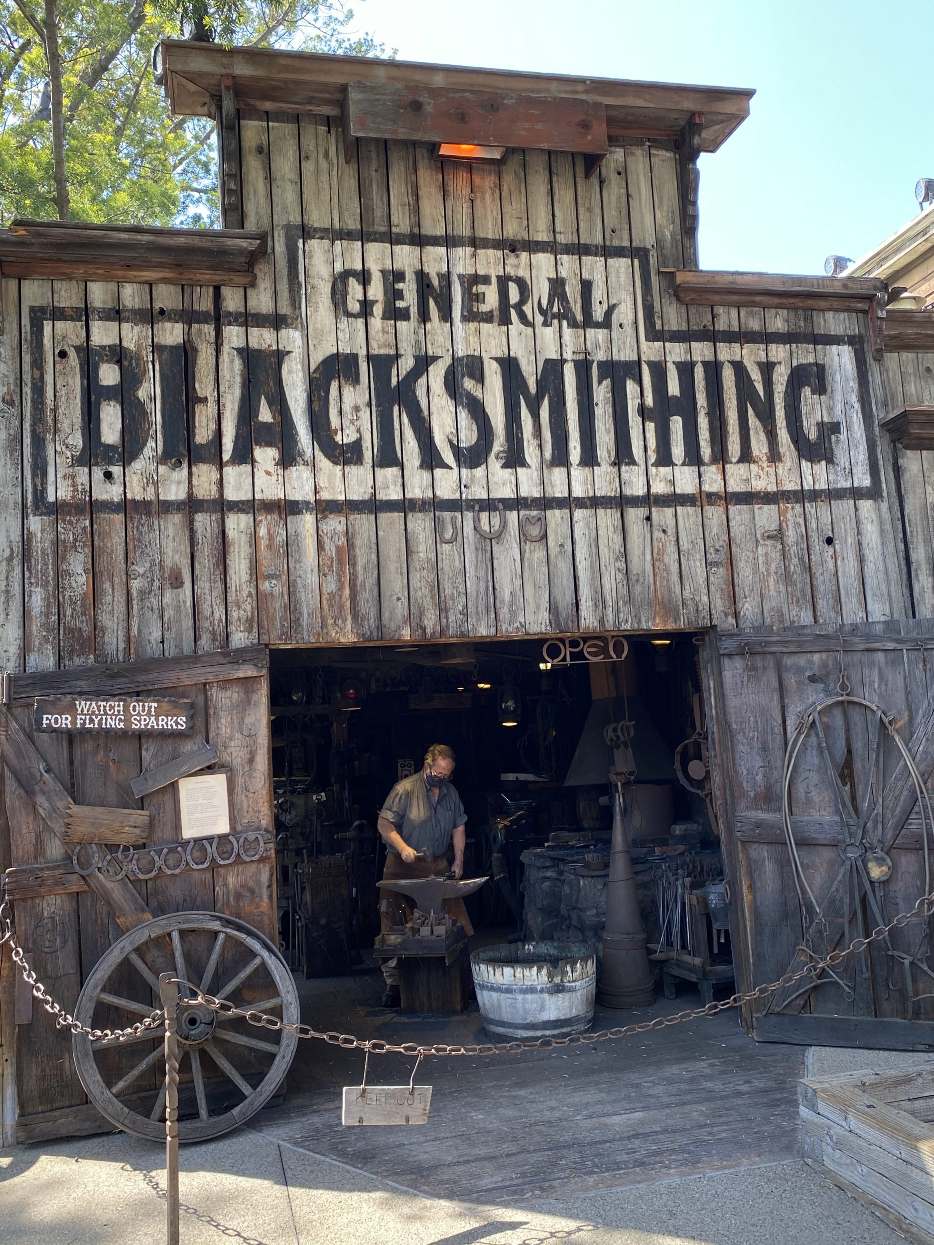 Historical General Blacksmith building in Ghost Town at Knott's Berry Farm is still a working blacksmith shop that makes pieces you can buy in the gift shop