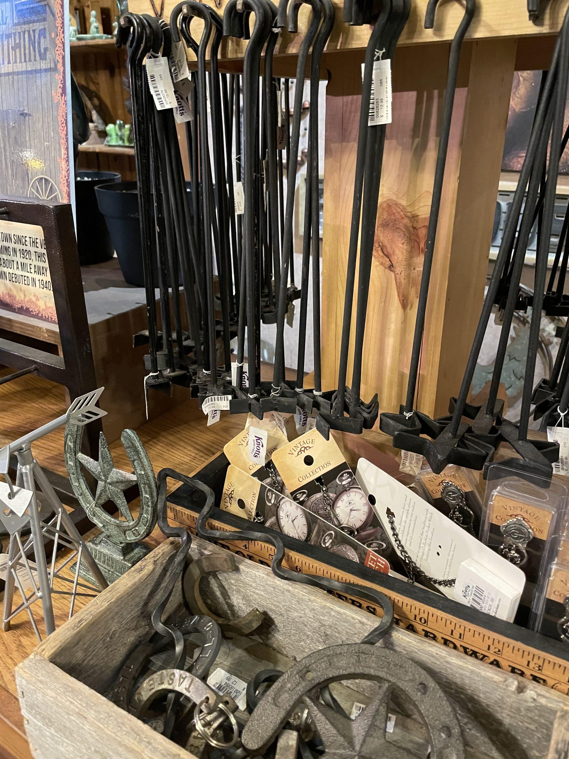 Branding irons made by Knott's Berry Farm blacksmith