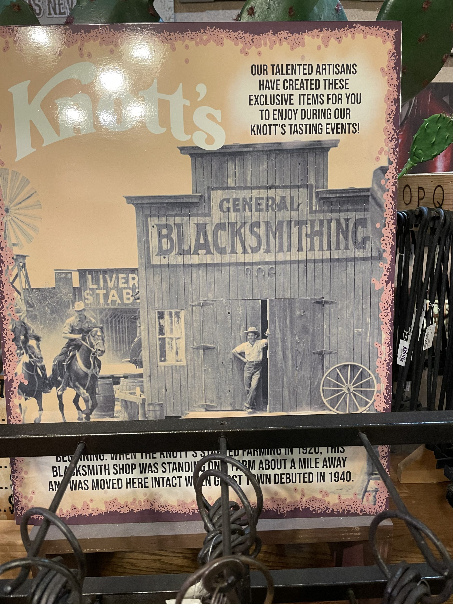 The blacksmith shop is one of the historical buildings at Knott's Berry Farm